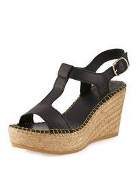 Andre Assous - Black Lemon Leather Wedge Sandal - Lyst