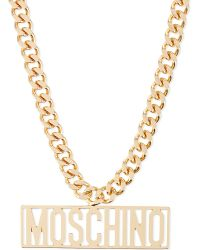 Moschino | Metallic Logo Necklace Gold | Lyst