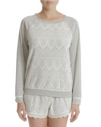 In Bloom - Gray Lace Knit Sleepshirt - Lyst
