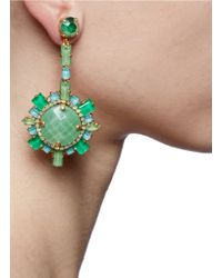 Aerin - Jade Green Round Stone Earrings - Lyst