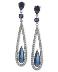 Carolee | Metallic Silver-tone Blue Glass Bead Linear Drop Earrings | Lyst