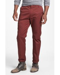 RVCA - Red 'the Weekend' Slim Straight Leg Chinos for Men - Lyst