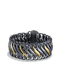 David Yurman - Black & Gold Chain Bracelet - Lyst