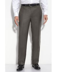 JB Britches - Brown Flat Front Wool & Cashmere Trousers for Men - Lyst