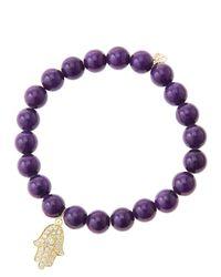 Sydney Evan - 8mm Purple Mountain Jade Beaded Bracelet with 14k Yellow Golddiamond Medium Hamsa Charm Made To Order - Lyst
