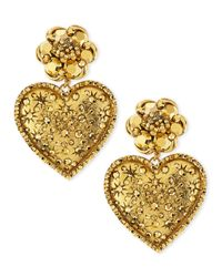 Jose & Maria Barrera | Metallic Golden Large Crystal Heart Drop Clip Earrings | Lyst