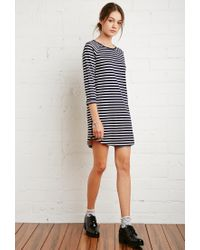Forever 21 | Blue Raglan-sleeved Stripe Dress | Lyst