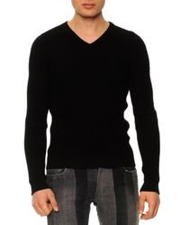 Dolce & Gabbana - Black Textured V-Neck Sweater for Men - Lyst