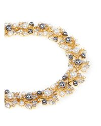 Kenneth Jay Lane | Multicolor Faux Pearl Crystal Vine Necklace | Lyst