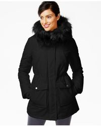 DKNY | Black Faux-fur-trim Water-resistant Parka | Lyst