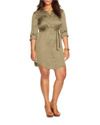 Lauren by Ralph Lauren | Green Plus Military Zip-front Shirtdress | Lyst