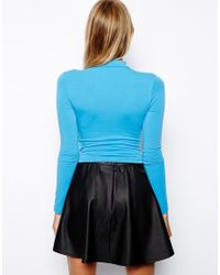 ASOS   Blue Crop Top with Long Sleeves and Turtle Neck   Lyst