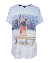 TOPSHOP - Gray Pug Sledge Sleep Tee - Lyst