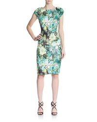 Eci | Green Floral-print Sheath Dress | Lyst