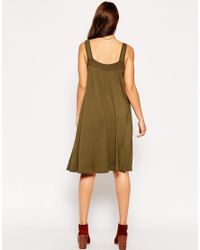 ASOS - Natural Midi Swing Dress With Pockets - Lyst