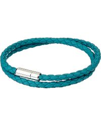 Tateossian | Blue Silver Pop Scoubidou Leather Bracelet for Men | Lyst