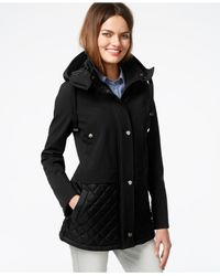 Kenneth Cole | Black Hooded Quilt-trim Coat | Lyst