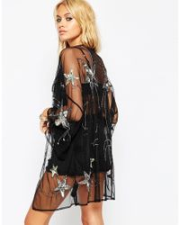 ASOS | Black Festival Kimono With Star Embellisment | Lyst
