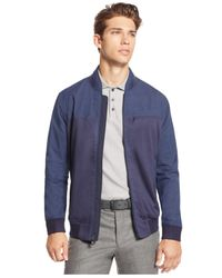 Vince Camuto | Blue Men's Mixed-media Bomber Jacket for Men | Lyst