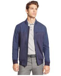 Vince Camuto - Blue Men's Mixed-media Bomber Jacket for Men - Lyst