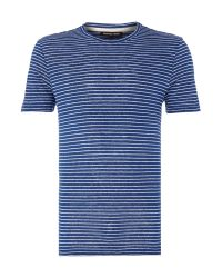 Michael Kors | Green Stripe Crew Neck Regular Fit T-shirt for Men | Lyst