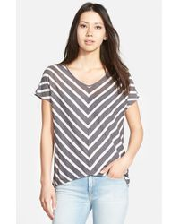 Velvet By Graham & Spencer | Gray Stripe Split Back Knit Top | Lyst