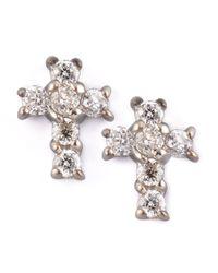 KC Designs - Metallic Diamond Cross Earrings - Lyst