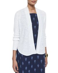 Eileen Fisher | White Organic Linen/cotton Slub Cardigan | Lyst