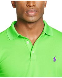 Polo Ralph Lauren - Green Custom-fit Stretch-mesh Polo for Men - Lyst
