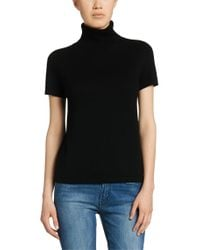 HUGO - Black Polo-neck Sweater In A Wool Blend With Cashmere: 'sappheire' - Lyst