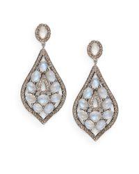 Bavna | Blue Moonstone, Pavé Diamond & Sterling Silver Teardrop Earrings | Lyst