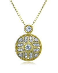 Lord & Taylor | Metallic Sterling Silver And Cubic Zirconia Filigree Pendant Necklace | Lyst