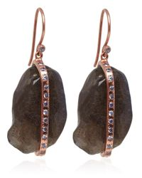 Didi - Brown Rose Gold Vermeil Labradorite Earrings - Lyst