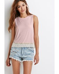 Forever 21 - Pink Crochet-trimmed Muscle Tee - Lyst