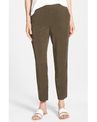 Eileen Fisher | Gray Tapered Twill Ankle-Grazing Pants | Lyst