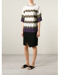 M Missoni - White Zig Zag Knitted Top - Lyst