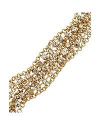 ABS By Allen Schwartz   Metallic Goldtone Mixed Chain and Crystal Accent Flex Bracelet   Lyst