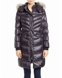 Bernardo | Blue Long Down & Primaloft Coat With Genuine Coyote Fur Trim Hood | Lyst