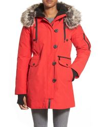 BCBGeneration Red 'expedition' Faux Fur & Faux Shearling Trim Parka