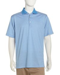 Peter Millar Classic Striped Golf Shirt In Blue For Men
