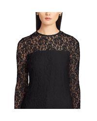 Ralph Lauren - Black Lace Long-sleeved Tee - Lyst