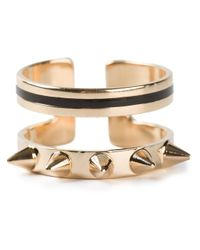Maria Francesca Pepe - Metallic Double Band Ring - Lyst