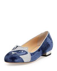 Charlotte Olympia - Blue King Kitty Velvet Loafers - Lyst