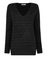 Oasis - Black Studded V Neck Jumper - Lyst