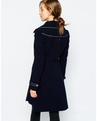 ASOS - Blue Coat With Top Stitch Detail - Lyst