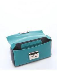 Fendi - Teal And Dark Blue Leather Chain Link Mini Shoulder Bag - Lyst