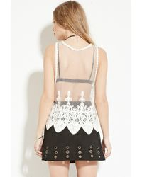 Forever 21 - White Endless Rose Scalloped Embroidered-mesh Tank - Lyst