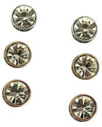 Guess | Metallic Tri-tone Crystal Stud Earring Set | Lyst