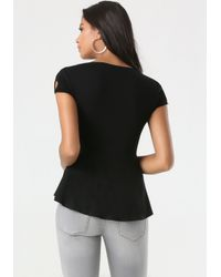 Bebe | Black Surplice Peplum Top | Lyst