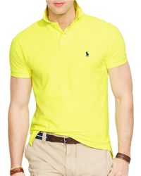 Polo Ralph Lauren | Yellow Custom-Fit Mesh Polo Shirt for Men | Lyst